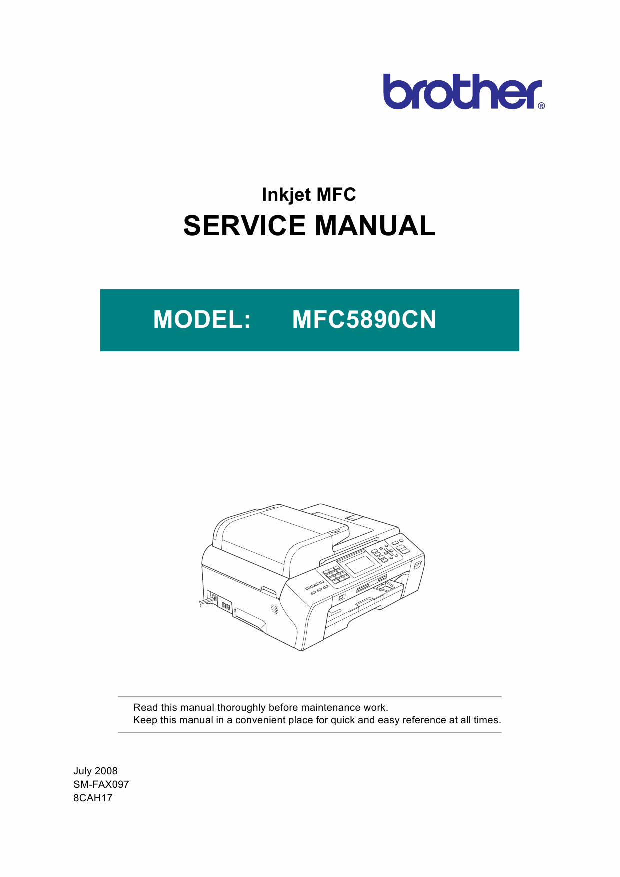 Brother Inkjet-MFC 5890CN Service Manual and Parts-1